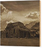 Southwest Navajo Rock House And Lightning  Wood Print