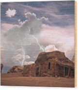 Southwest Navajo Rock House And Lightning Strikes Wood Print