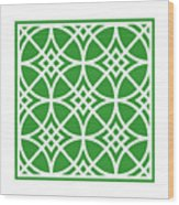 Southwestern Inspired With Border In Dublin Green Wood Print