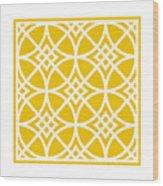 Southwestern Inspired With Border In Mustard Wood Print