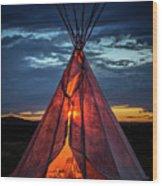 Southwestern Teepee Sunset Wood Print