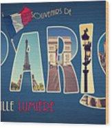 Souvernirs De Paris Wood Print