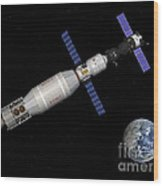 Soyuz Deep Space Explorer Docked Begins Wood Print
