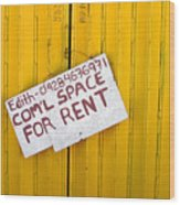 Space For Rent Wood Print