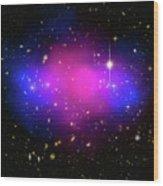 Space Image Galaxy Cluster Purple Blue Black Wood Print