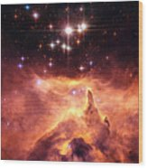 Space Image Orange And Red Star Cluster With Blue Stars Wood Print