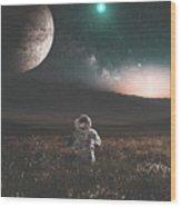 Space Man Wood Print