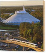 Space Mountain And Monorail Peach Wood Print