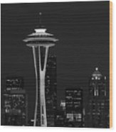 Space Needle At Night In Black And White Wood Print by Mark J Seefeldt