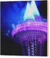Space Needle Fireworks Wood Print