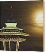 Space Needle Full Moon A150 Wood Print