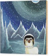 Space Pug  Wood Print