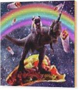 Space Pug Riding Dinosaur Unicorn - Taco And Burrito Wood Print