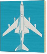Space Shuttle And 747 Transport Jet - Cyan Wood Print