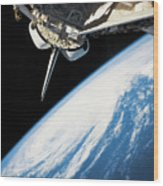 Space Shuttle In Outer Space Wood Print by Stockbyte