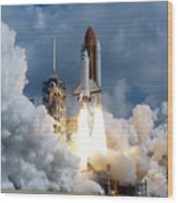 Space Shuttle Launching Wood Print
