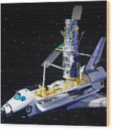 Space Shuttle With Hubble Telescope Wood Print