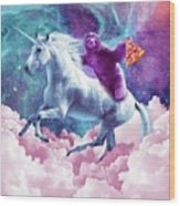 Space Sloth On Unicorn - Sloth Pizza Wood Print