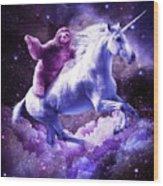 Space Sloth Riding On Unicorn Wood Print