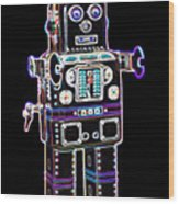 Spaceman Robot Wood Print