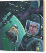 Spaceman With Space Station Orbiting Green Planet Wood Print
