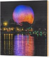 Spaceship Earth Reflection Wood Print