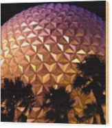 Spaceship Earth Shimmers Wood Print