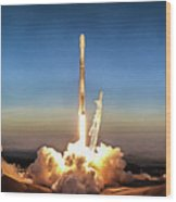 Spacex Iridium-5 Mission Falcon 9 Rocket Launch Wood Print