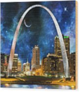 Spacey St. Louis Skyline Wood Print