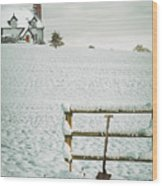 Spade Leaning Against Fence In The Snow Wood Print
