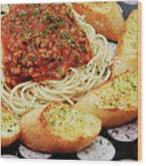 Spaghetti And Meat Sauce With Garlic Toast  Wood Print by Andee Design