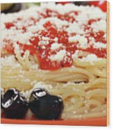 Spaghetti With Tomatoes And Olives Food Background Wood Print