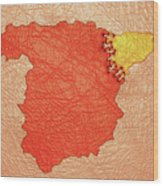Spanish And Catalonia Tattoo With Stitches Wood Print