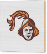 Spanish Conquistador Head Retro Wood Print