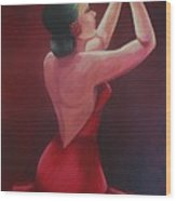 Spanish Dancer In Red Wood Print