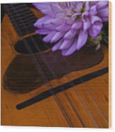 Spanish Mandolin And Dahlia Wood Print