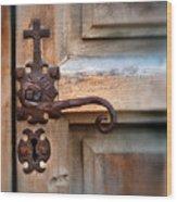 Spanish Mission Door Handle Wood Print by Jill Battaglia