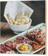 Spanish Smoked Meats Ham And Cheese Platter Starter Dish Wood Print