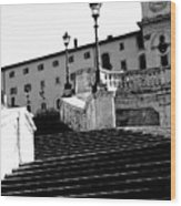 Spanish Steps Rome In Black And White Wood Print