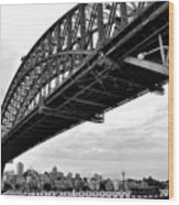 Spanning Sydney Harbour - Black And White Wood Print