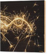 Sparkler In Christmas Wood Print