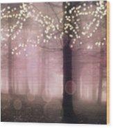 Sparkling Fantasy Fairytale Trees Nature Pink Woodlands - Sparkling Lights Bokeh Fantasy Trees Wood Print