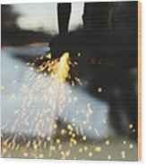 Sparks From Cutting Metal Wood Print