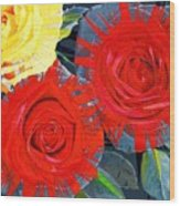 Spattered Colors On Roses Wood Print