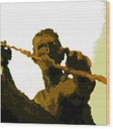 Spearfishing Man Wood Print