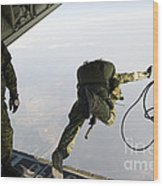 Special Operations Jumpers Exit A C-130 Wood Print