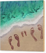 Speck Family Beach Feet Wood Print