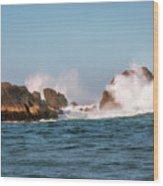 Spectacular Waves Smashing On The Rocks At Milford Sound Fjord O Wood Print