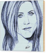 Speed Drawing Of Jennifer Aniston  Wood Print