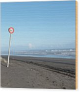 Speed Sign On The Ocean  Beach Wood Print